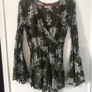 Abercrombie & Fitch green floral romper